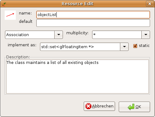 feature dialog for an association